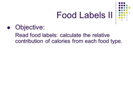 how to read food labels for calories