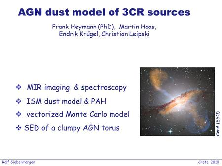 Ralf Siebenmorgen Crete 2010 AGN dust model of 3CR sources  MIR imaging & spectroscopy  ISM dust model & PAH  vectorized Monte Carlo model  SED of.