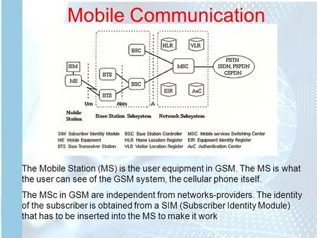 Mobile Communication The Mobile Station (MS) is the user equipment in GSM. The MS is what the user can see of the GSM system, the cellular phone itself.