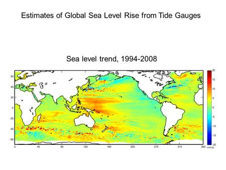 Estimates of Global Sea Level Rise from Tide Gauges Sea level trend, 1994-2008.