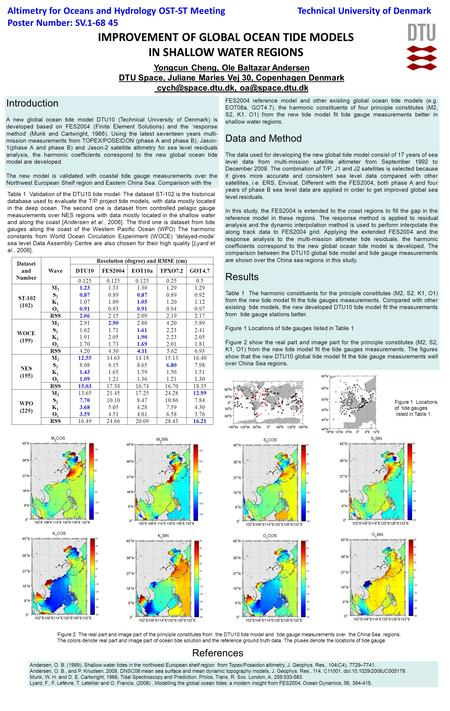 IMPROVEMENT OF GLOBAL OCEAN TIDE MODELS IN SHALLOW WATER REGIONS Altimetry for Oceans and Hydrology OST-ST Meeting Poster Number: SV.1-68 45 Yongcun Cheng,