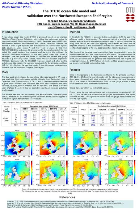The DTU10 ocean tide model and validation over the Northwest European Shelf region 4th Coastal Altimetry Workshop Poster Number: P.7.01 Yongcun Cheng,