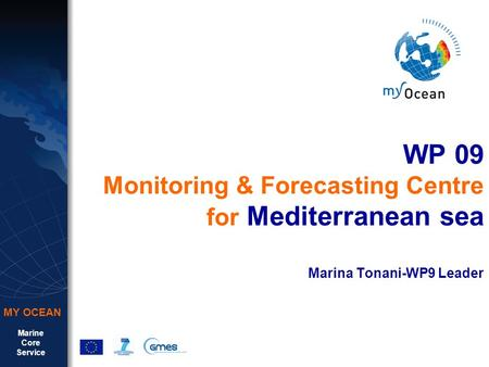 Marine Core Service MY OCEAN WP 09 Monitoring & Forecasting Centre for Mediterranean sea Marina Tonani-WP9 Leader.