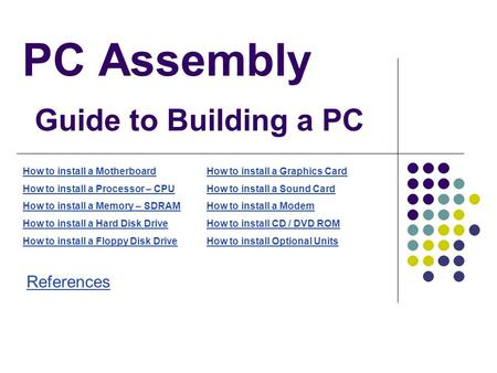 PC Assembly Guide to Building a PC How to install a Motherboard How to install a Processor – CPU How to install a Memory – SDRAM How to install a Hard.