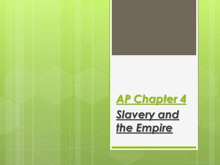 AP Chapter 4 Slavery and the Empire. The African Slave Trade  10-12 million slaves were brought to the Americas with 67% coming between 1701- 1810 