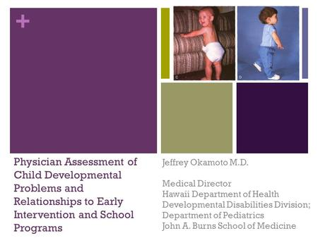 + Physician Assessment of Child Developmental Problems and Relationships to Early Intervention and School Programs Jeffrey Okamoto M.D. Medical Director.