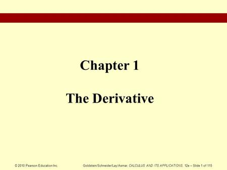 Chapter 1 The Derivative
