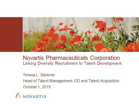 Teresa L. Sankner Head of Talent Management, OD and Talent Acquisition October 1, 2015 Novartis Pharmaceuticals Corporation Linking Diversity Recruitment.
