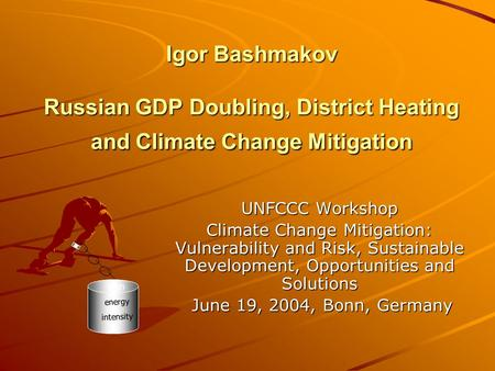 Igor Bashmakov Russian GDP Doubling, District Heating and Climate Change Mitigation UNFCCC Workshop Climate Change Mitigation: Vulnerability and Risk,