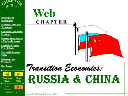Web Ch. - 1 Copyright McGraw-Hill/Irwin, 2002 Ideology and Institutions Planning Goals and Techniques Collapse of the Soviet Economy Russian Transition.