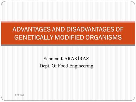 Şebnem KARAKİRAZ Dept. Of Food Engineering ADVANTAGES AND DISADVANTAGES OF GENETICALLY MODIFIED ORGANISMS FDE 101.