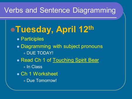 Verbs and Sentence Diagramming Tuesday, April 12 th Participles Diagramming with subject pronouns DUE TODAY! Read Ch 1 of Touching Spirit Bear In Class.