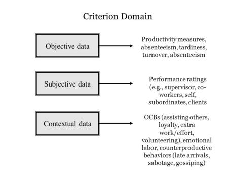 Objective data Subjective data Contextual data Productivity measures, absenteeism, tardiness, turnover, absenteeism OCBs (assisting others, loyalty, extra.