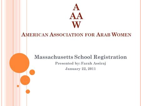 A AA W A MERICAN A SSOCIATION FOR A RAB W OMEN Massachusetts School Registration Presented by: Farah Assiraj January 22, 2011.
