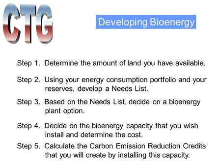 Developing Bioenergy Step 1. Determine the amount of land you have available. Step 2. Using your energy consumption portfolio and your reserves, develop.