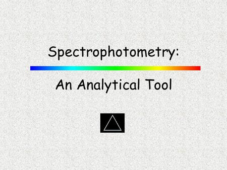 Spectrophotometry: An Analytical Tool. PGCC CHM 103 Sinex/Gage IoIo I Cell with Pathlength, b, containing solution light source detector blank where I.