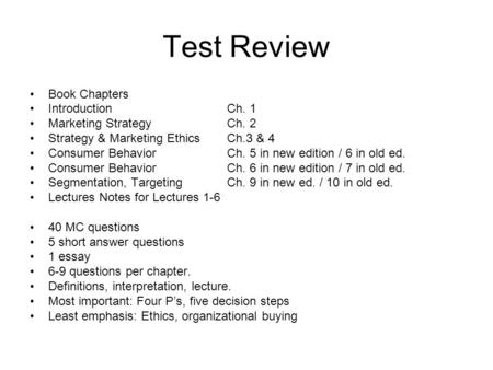 chapter an introduction to consumer behavior ppt video online  test review book chapters introductionch 1 marketing strategych 2 strategy marketing ethicsch