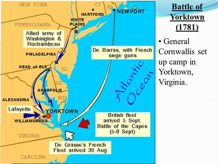 Battle of Yorktown (1781) • General Cornwallis set up camp in Yorktown, Virginia.