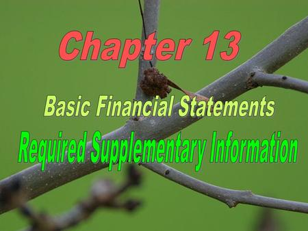 LEARNING OBJECTIVES 1.Identify the BASIC FINANCIAL STATEMENTS. 2.Understand the format/content of GOVERNMENT-WIDE financial statements and FUND FINANCIAL.
