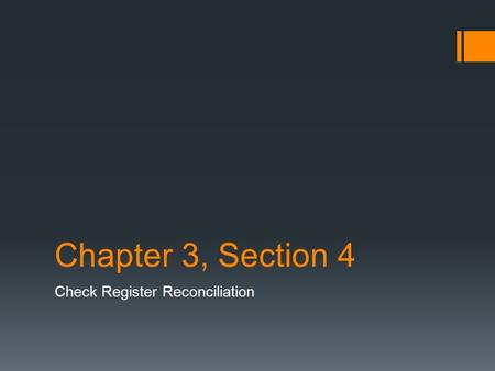 Chapter 3, Section 4 Check Register Reconciliation.