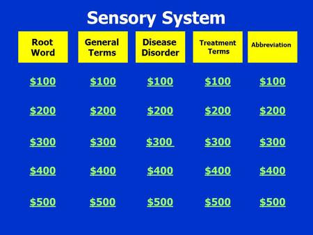 Sensory System $100 $200 $300 $400 $500 $100 $200 $300 $400 $500 $100 $200 $300 $400 $500 $100 $200 $300 $400 $500 $100 $200 $300 $400 $500 Root Word.