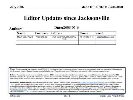 Doc.: IEEE 802.11-06/0930r0 Submission July 2006 Nancy Cam-Winget, Cisco Slide 1 Editor Updates since Jacksonville Notice: This document has been prepared.