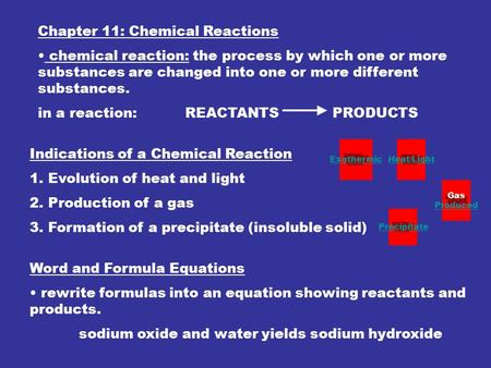 Chapter 11: Chemical Reactions chemical reaction: the process by which one or more substances are changed into one or more different substances. in a reaction: