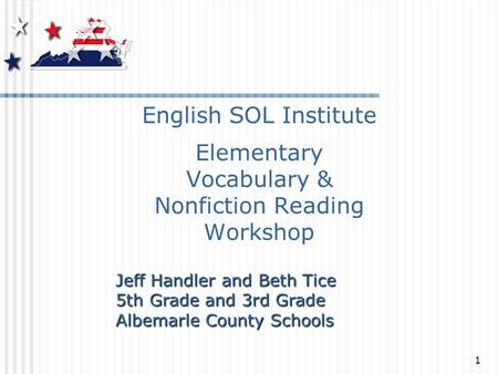 English SOL Institute Elementary Vocabulary & Nonfiction Reading