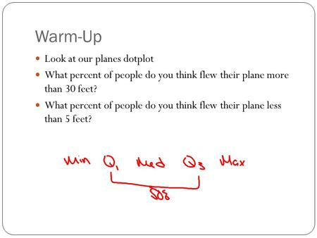 Warm-Up Look at our planes dotplot What percent of people do you think flew their plane more than 30 feet? What percent of people do you think flew their.
