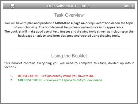 OCR Nationals ICT – Unit 5 Task 1 Task Overview You will have to plan and produce a MINIMUM 4 page A4 or equivalent booklet on the topic of your choosing.