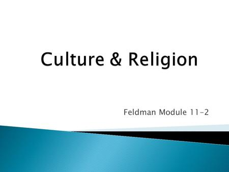 Feldman Module 11-2.  Religion can be the chief influence of a culture – Islam  Religion can be a unifying force for cultural morality.  Religion can.