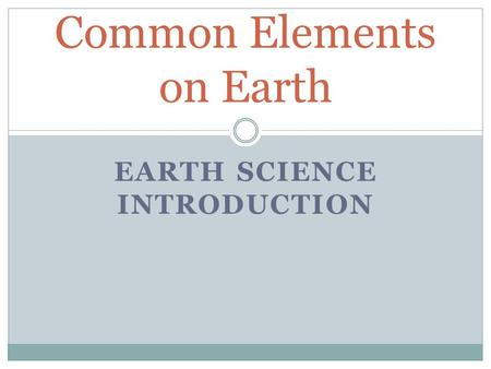 Common Elements on Earth