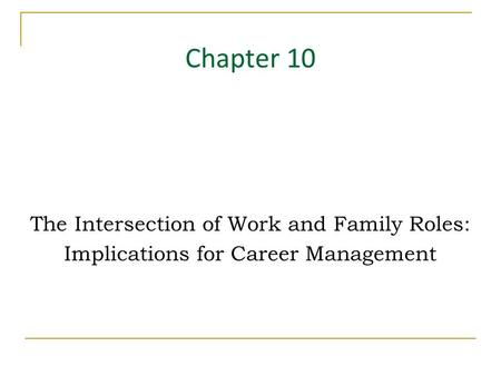 Chapter 10 The Intersection of Work and Family Roles: Implications for Career Management.
