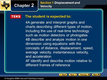 © Houghton Mifflin Harcourt Publishing Company The student is expected to: Chapter 2 Section 1 <strong>Displacement</strong> <strong>and</strong> <strong>Velocity</strong> TEKS 4A generate <strong>and</strong> interpret.
