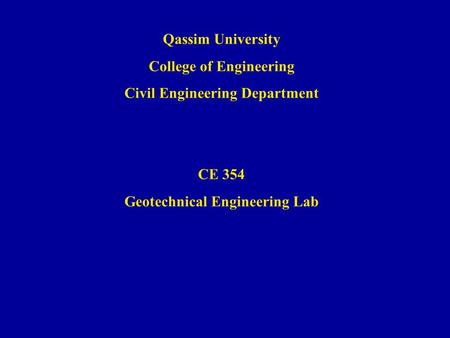 College of Engineering Civil Engineering Department