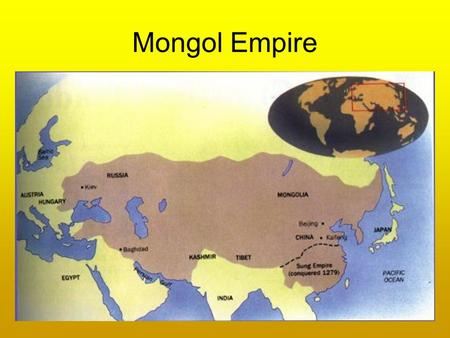 "Mongol Empire. Chinggis Khan (Genghis Khan) ""universal ruler"" United all Mongol tribes and clans in 1206 Eventually amassed an army of 100,000 to 125,000."