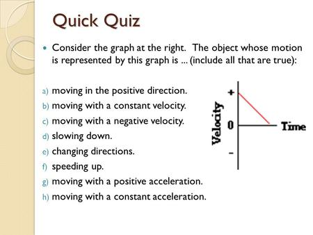 Quick Quiz Consider the graph at the right. The object whose motion is represented by this graph is... (include all that are true): a) moving in the positive.