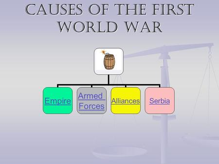 Causes of the First World War Empire Armed Forces AlliancesSerbia.