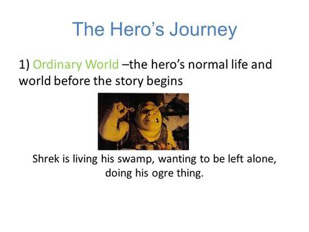 The Hero's Journey 1) Ordinary World –the hero's normal life and world before the story begins Shrek is living his swamp, wanting to be left alone, doing.