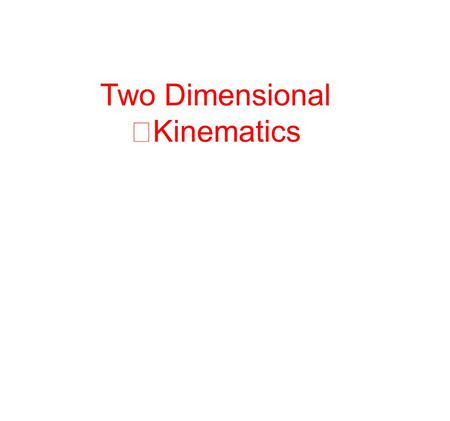 Two Dimensional Kinematics. Position and Velocity Vectors If an object starts out at the origin and moves to point A, its displacement can be represented.