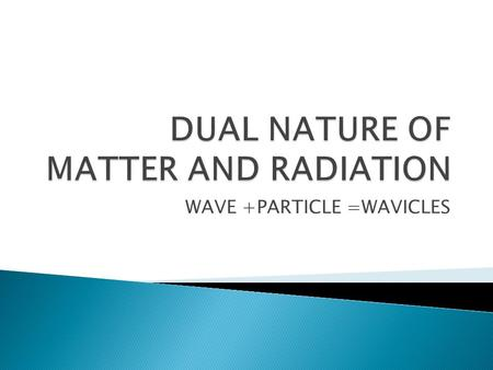 WAVE +PARTICLE =WAVICLES. The Phenomenon explaining particle nature of light.