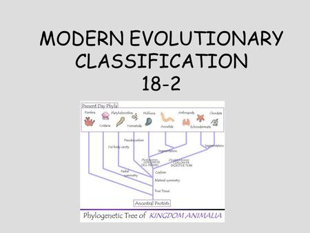 MODERN EVOLUTIONARY CLASSIFICATION 18-2. In a way, organisms determine who belongs to their species by choosing with whom they will __________! Taxonomic.