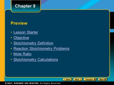 Preview Lesson Starter Objective Stoichiometry Definition