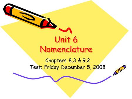 Unit 6 Nomenclature Chapters 8.3 & 9.2 Test: Friday December 5, 2008.