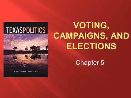 Chapter 5.  Explain why voting is important to a democratic society.  Discuss types of campaign resources, efforts to restrict the power of money in.