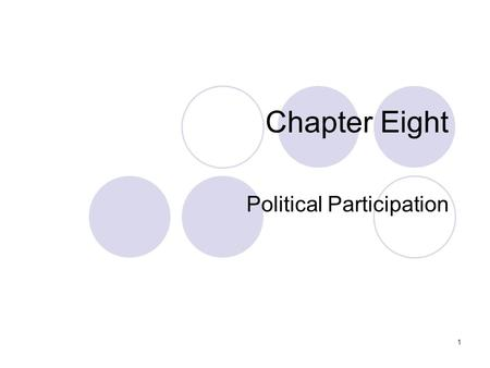 1 Chapter Eight Political Participation. 2 Elections: From State to Federal Control Initially, under the U.S. Constitution, states decided who could vote.