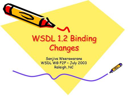 WSDL 1.2 Binding Changes Sanjiva Weerawarana WSDL WG F2F – July 2003 Raleigh, NC.