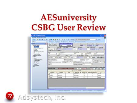 AESuniversity CSBG User Review. CSBG User Review Data Entry Requirements –Central Intake –Program Entry, Activities, Milestones Basic Reports Options.