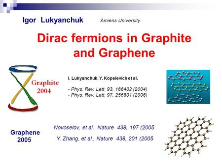 Dirac fermions in Graphite and Graphene Igor Lukyanchuk Amiens University I. Lukyanchuk, Y. Kopelevich et al. - Phys. Rev. Lett. 93, 166402 (2004) - Phys.