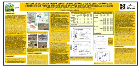 EFFECTS OF CHANGES IN FALLOW LENGTH ON SOIL ORGANIC C DUE TO CLIMATE CHANGE AND SOCIOECONOMIC FACTORS IN POTATO-BASED CROPPING SYSTEMS IN THE BOLIVIAN.
